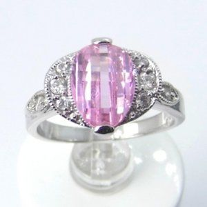 Sterling Silver Ice Pink Ring sz 7.5